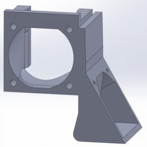 A plastic mount for holding two cooling fans