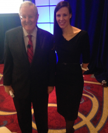 Sam poses w/Steve Forbes before the 3D Printing Panel at the Forbes Reinventing America Summit