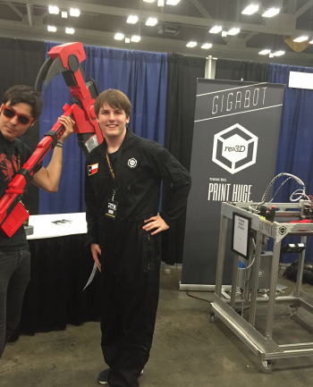 Jake takes his massive 3D printed scythe to RTX in Austin w/Gigabot and the local team