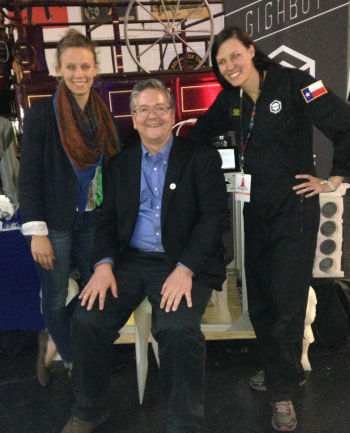 MAKE's Dale Dougherty takes a seat on our 3D printed stool w/Morgan & Sam at MakerPro