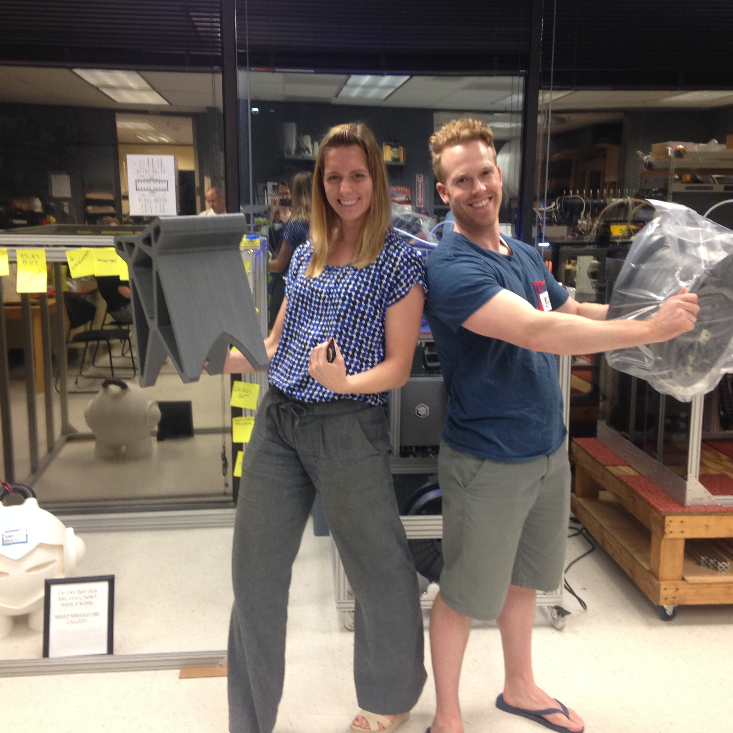 Houston customers 3D Kinkos pose w/Gigabot, Terabot & a 15lb filament spool they won for sharing their 3D printed stool