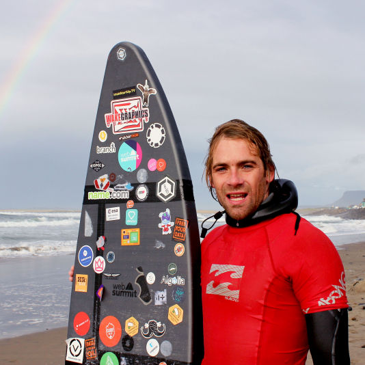 Our instructors took the board out the farthest we had seen and did an outstanding job surfing under a double rainbow!