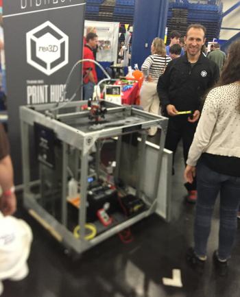 Chris unveils his Solar Powered Gigabot at the Houston Mini MakerFaire