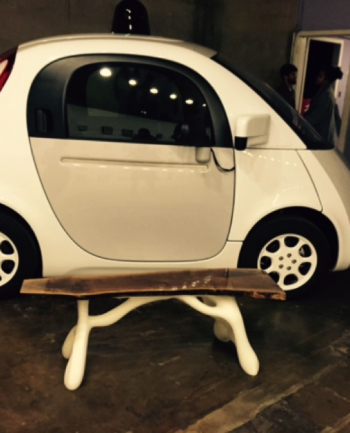 Mike's 3D printed bench is featured at the Big Medium East Austin Studio Tour (self-driving car for scale:)