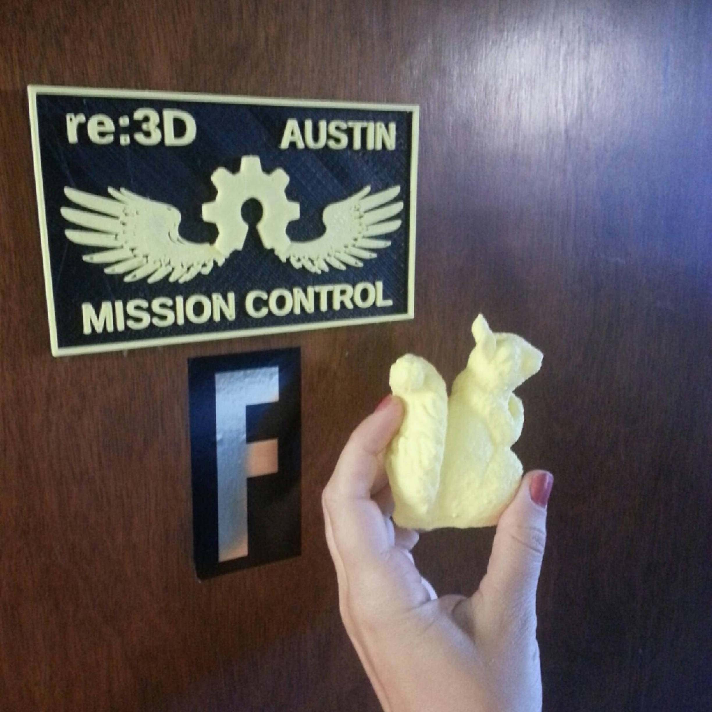 Our Austin office is christened by Mike's 3D printed guardian squirrel